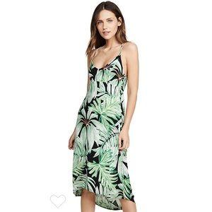 Chaser Green Black Tropical Racerback Dress L NWT